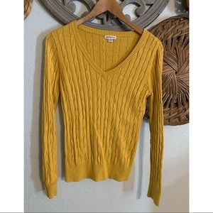 Merona cable knit mustard sweater sz M stretchy